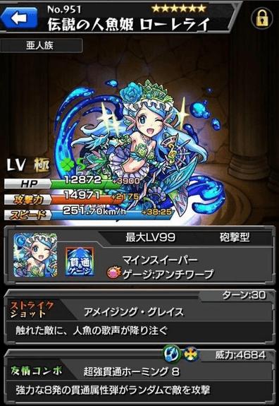モンストリセマラ当たりランキング伝説の人魚姫ローレライ