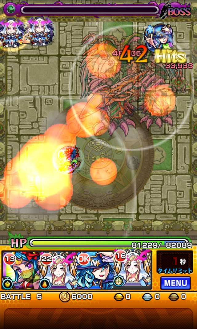 モンスト攻略英雄の神殿の新ステージ時の間でわくわくの実特級Lを高速周回できそう_バトル5_1_モンスト英雄の神殿攻略