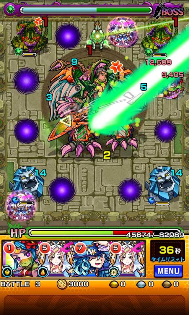 モンスト攻略英雄の神殿の新ステージ時の間でわくわくの実特級Lを高速周回できそう_バトル3_2_モンスト英雄の神殿攻略