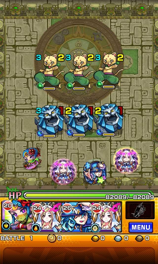 モンスト攻略英雄の神殿の新ステージ時の間でわくわくの実特級Lを高速周回できそう_バトル1_1_モンスト英雄の神殿攻略