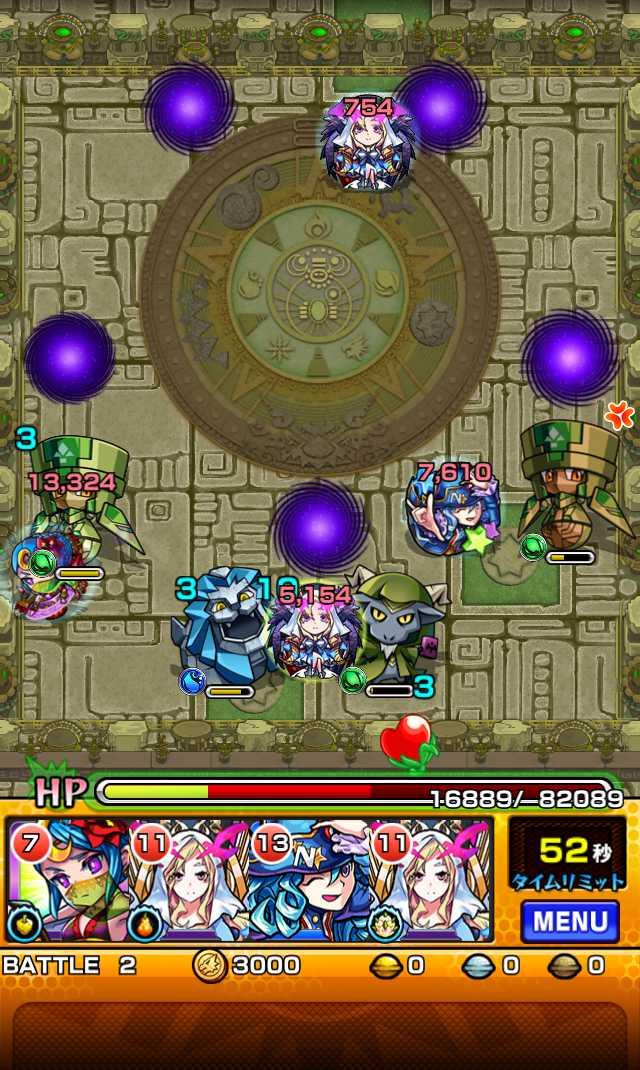 モンスト攻略英雄の神殿の新ステージ時の間でわくわくの実特級Lを高速周回できそう_バトル2_4_モンスト英雄の神殿攻略